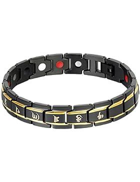 Oidea Herren Armband, Sechs Worte von Mantra Gesundheit Magnetarmband Armkette Armreif Armschmuck, Edelstahl Magnet...