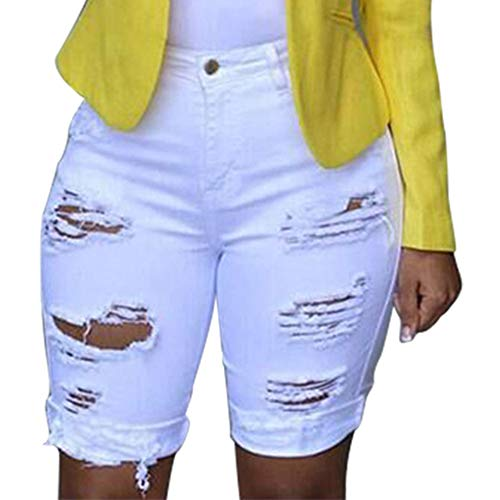 Proumy Frauen Elastic Destroyed Leggings Kurze Hosen Einfarbig Denim Shorts Ripped Jeans 2019 Sommer (2XL, White) -