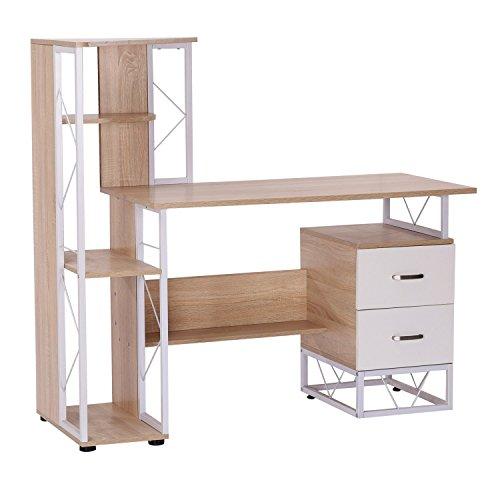 Scrivania Per Computer Design.Homcom Scrivania Pc Di Design Moderno Con Scaffale 133 X 55 X 123cm