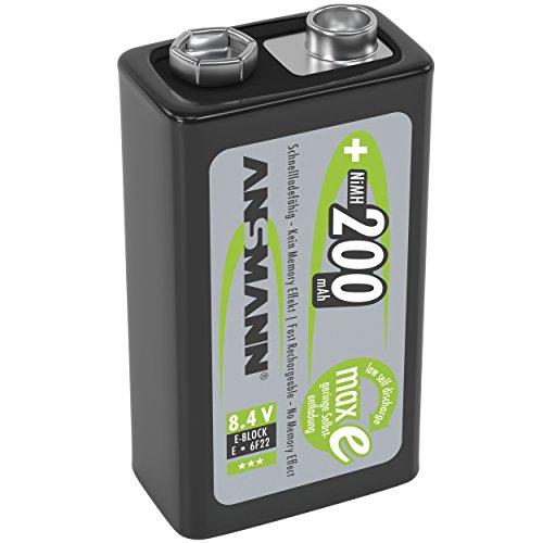 ANSMANN LSD 9V Akkubatterie/Typ 200mAh/Wiederaufladbarer NiMH E-Block/Vorgeladener Akku mit geringer Selbstentladung & hoher Kapazität/Ideal für Spielzeug Taschenlampe Fernbedienung - Kameras Unter $300 Digitale
