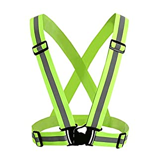 Aituo High Visibility reflektierende Sicherheitsweste - Stay Safe Jogging, Radfahren, Arbeiten, Motorradfahren oder Laufen (Grün)