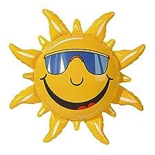 Eine aufblasbare gelbe Deko Sonne aus Kunststoff.   Größe: ca. 60 cm   Damit werden Sie garantiert zum Blickfang auf jeder Party, ideal für Fasching und Karneval.   Viele andere schöne Artikel finden Sie in unserem Shop.