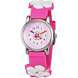 Zeiger 3D Cartoon Kids Watches with Silicone Watch Band Comfortable for Children Boys Girls (3D Flower)