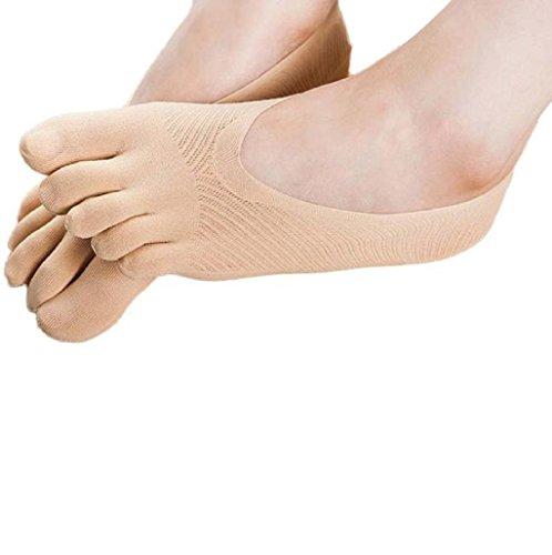 Sannysis 5-Toe Calcetines Yoga Ejercicio Masaje resbalón no del Dedo del pie con empuñadura Completa (03, Caqui)