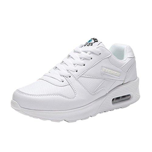 DEELIN Damen Schuhe Mode Freizeitschuhe Outdoor Wanderschuhe Wohnungen Lace up Damen Schuh (35, Weiß)