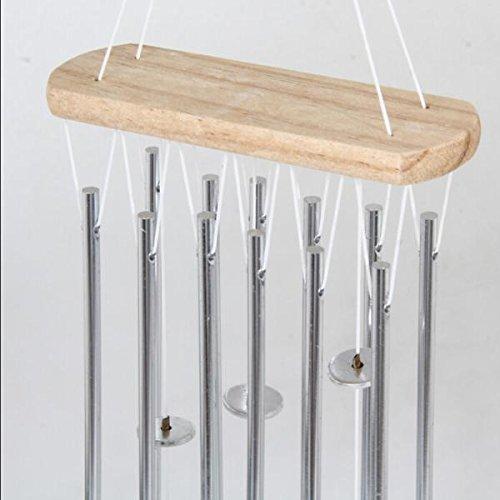 Silber 12 Röhren Metall Glocken Windspiel Im Freien Gartendekoration Geschenk Hängen - 3