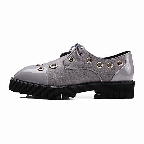 Mee Shoes Damen Niedrig Vierkant Schnürhalbschuhe Grau