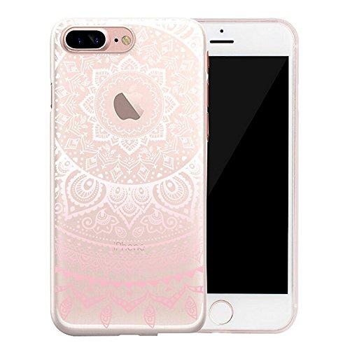 Coque iPhone 6S, SpiritSun Housse Étui TPU Silicone Clair Transparente Ultra Mince Souple Douce Coque pour Apple iPhone 6 6S (4.7 pouces) avec Motif Tribal - Lotus Fleur Bleu Z-Lotus Fleur Rose