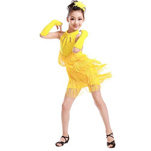 Fuyingda Girl Funkelnde Strass Double Tassel Tanzen Latin Rumba Salsa ()