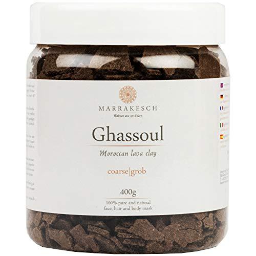 MARRAKESCH Ghassoul Rhassoul granules 400g | Argile marocaine originale bio comme masque facial pour le nettoyage du visage | Gommage naturel pour la peau les cheveux le visage | comme soin du corps