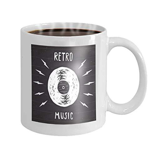 11 oz Coffee Mug Vinyl Record Vintage Label Hand Drawn Sketch Grunge Textured Retro Badge Typography Design Print Novelty Ceramic Gifts Tea Cup -