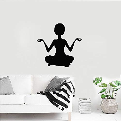 jiushixw Neuheiten Yoga Haltung Wandtattoo Vinylklebrig Sportraum Wandaufkleber Wandbild Sofa Hintergrund Buddha Decor L 43 cm x 42 cm