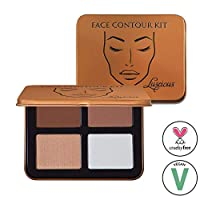 Face Contour Kit by Luscious Cosmetics | 4 Easy to Use Contouring and Highlight Powder Shades | Vegan and Cruelty Free Contour Palette