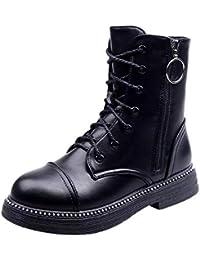 Logobeing Botines Mujer Zapatos Retro con Cordones y Cremallera con Punta  Redonda para Mujer Zapatos Planos ccce2011bbaf