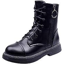 ed1d721c9 Logobeing Botines Mujer Zapatos Retro con Cordones y Cremallera con Punta  Redonda para Mujer Zapatos Planos