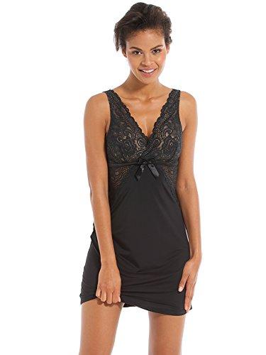 Balsamik - Camicia da notte in pizzo - donna - Size : 50/52 - Colour : Nero