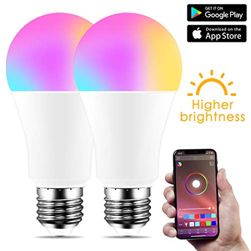 North cool Nuevo Bluetooth Inalámbrico 4.0 Bombilla Inteligente Lámpara De Iluminación For El Hogar 10W E27 Magic RGB + W LED Cambio De Color Bombilla Regulable (Color : Warm White, Size : B22)