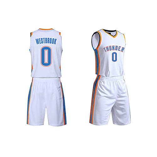 # 0 Russell Westbrook Herren-Basketballtrikot, Oklahoma City Thunder Basketballkleidung, Kostüm Sportbekleidung - Retro Basketball Kostüm