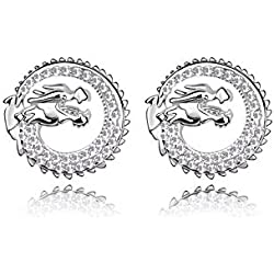 Pendientes Dragon Cristal de Swarovski Elements Blanco y Rodio Plateado - CRY A329 G Blanc - Blue Pearls