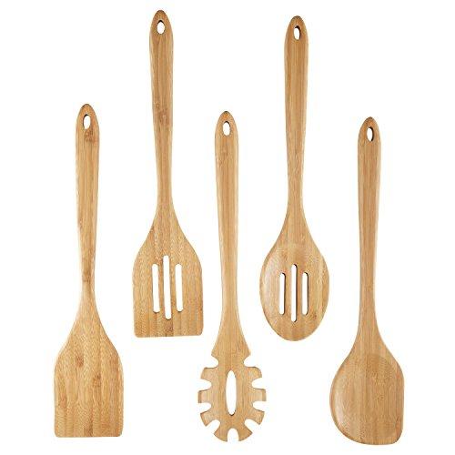 NexGadget Küchenhelfer Set Premium-5-Stücke Sets von Kochgeschirr mit Bambus Kochen Tools einschließlich Geschlitzter Wender,Suppenschöpfer,flexbler Wender,Servierlöffel,Spaghettilöffel