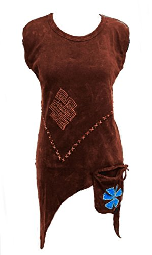 (Dark Dreams Gothic Witchy Pagan Nepal PSY Goa Top Shirt Tasche 36 38 40 42 S M L XL, Farbe:Bordeaux, Größe:S/M)