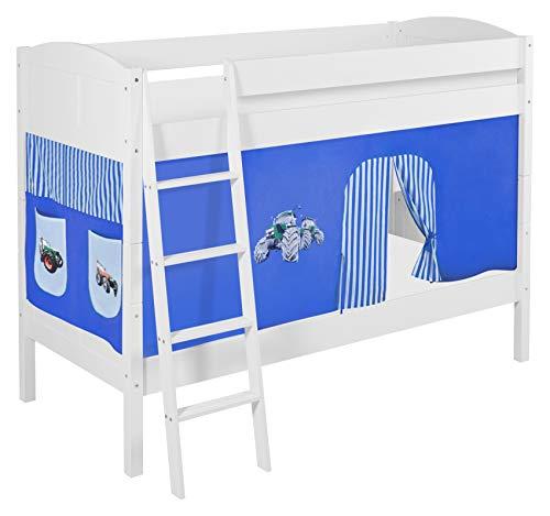 Lilokids Etagenbett IDA 4106-Teilbares Systembett mit Vorhang und Lattenroste Kinderbett Holz weiß 208 x 98 x 150 cm