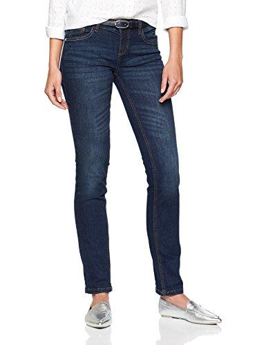 TOM TAILOR Damen Straight Jeans Carrie in Cleaner Optik, Blau Dark Stone Blue Denim 1502, W32/L30 (Herstellergröße: 32)