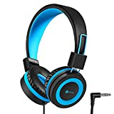 #5: iClever Kids Headphones - Wired Headphones for Kids, Adjustable Headband, Stereo Sound, Foldable, Untangled Wires, 3.5mm Aux Jack Headsets, 94dB Volume Limited - Childrens Headphones on Ear, Blue