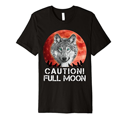Vorsicht Full Moon Werwolf T-Shirt Halloween-Kostüm Shirt