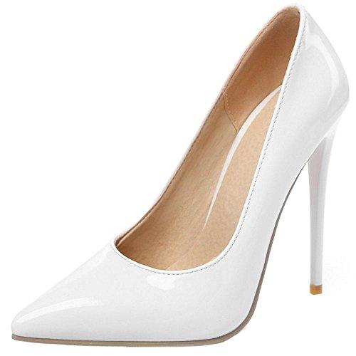 COOLCEPT Femmes Chaussures Pointu Talons Hauts Escarpins fete Soiree Blanc