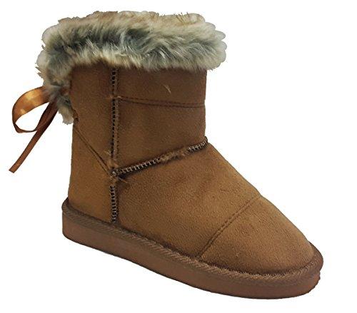 Elegant Girls Fashion Faux Suede Camel Color Ankle Flat Boots with Faux Fur Trim