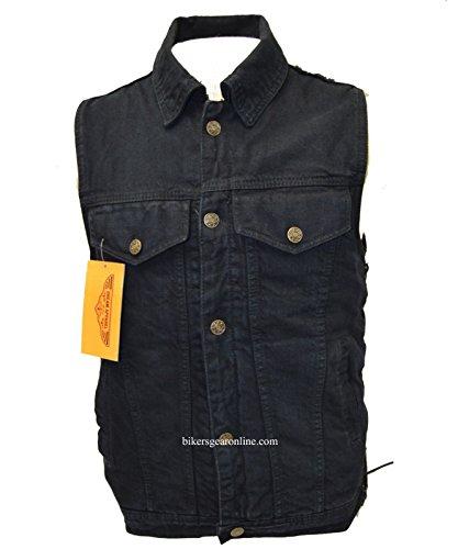-Giacca da motociclista Son of Anarchy nero denim gilet lacci laterali Light weight Collar (* regular)
