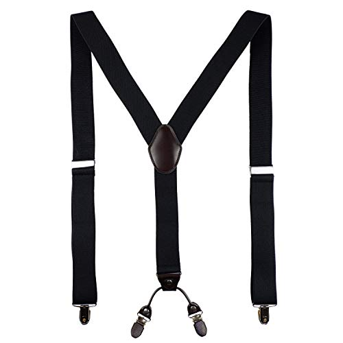 AIYUE Hosenträger Herren, 4 Starken Schnallen Y-Form,elastische und verstellbare Hosenträger für Männer mit kostenloser hochwertiger Geschenkbox (Schwarz) -