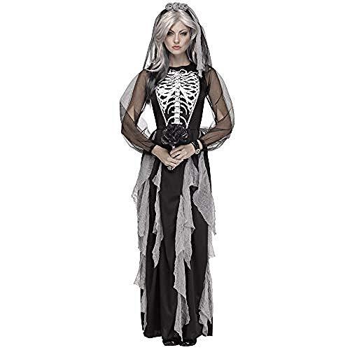 Generic Frauen Braut Halloween Cosplay Kostüm Halloween Cosplay COS Skeleton Ghost Brautkostüm Bühnenkostüm Grau @ (Wirklich Coole Superhelden Kostüm)