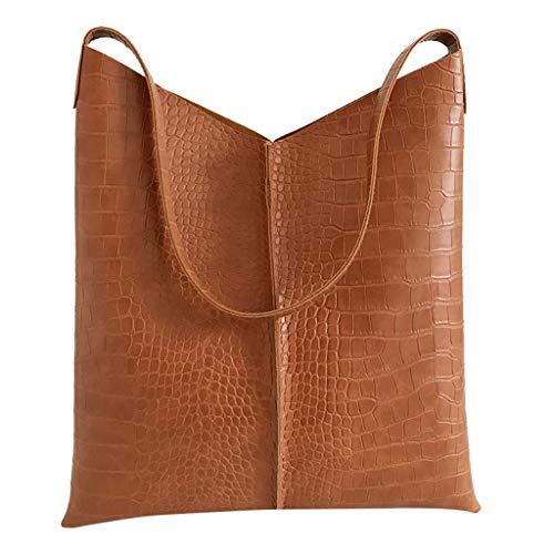 Produp Fashion Damen Handtasche Leder einfarbig Krokodilmuster vielseitig Umhängetasche + Geldbörse