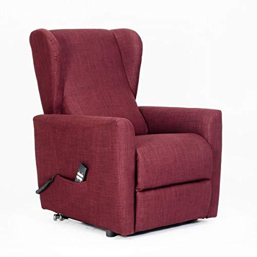 poltrone-italia–Clásica Bergere con CÓMODOS Orejas Laterales. sillón Eléctrico, reclinable de 2Motores Independientes, Asiento indeformable–bav-2l