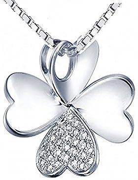 Kleeblatt Anhänger - 925 Silber Kettenanhänger Glück Kleeblatt mit Zirkonia + diamantierter Oberfläche