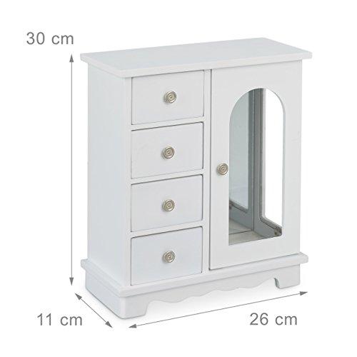 Relaxdays Schmuckkästchen mit Tür H x B x T: ca. 30 x 26 x 11 cm großer Schmuckkasten mit 4 Fächern Schmuckschrank aus Holz mit Schubladen und Spiegel Schränkchen mit Schmuckhalter für Ketten, weiß - 4