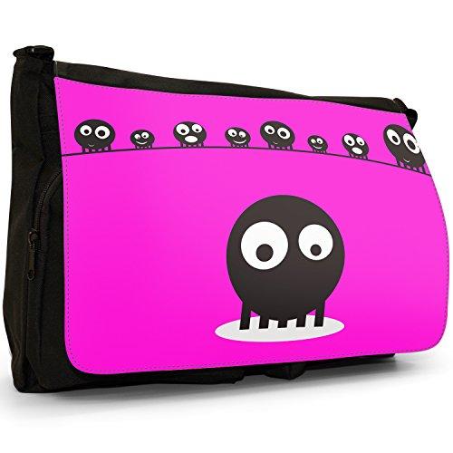 Blob Faces-Borsa Messenger, colore: nero, Borsa a tracolla in tela, borsa per Laptop, scuola Pink Blob Faces