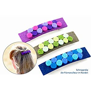 Haarspange aus Metall und hochwertigem Filz (100% Wolle) für Kinder und Erwachsene in vielen bunten Farben – handgemacht und individualisierbar