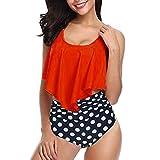 Yvelands Damen Bikini Set Tankini Zweiteiler Plus Size Sexy Backless Halter Dot Bademode Set(CN-2XL,rot)
