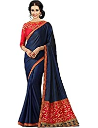 KAMELA SAREE women's silk material Blue Colour embroidery Party wear saree With designer Blouse