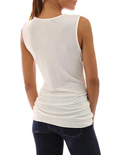 OUFour Donna Estivo Senza Maniche V Collo Maglietta Sottile Camicie Casual Folds Canotte con Pulsanti Top Sweatshirt Bluse T-Shirt di Colore Solido Taglie Forti Bianca