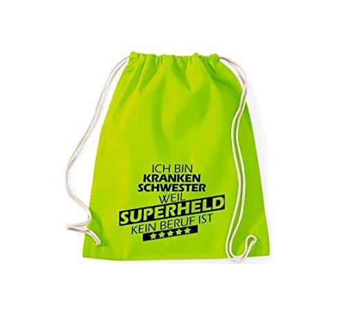 Shirtstown Borse palestra Sono Infermiera, perché Super eroe niente Occupazione è - Viola, 37 cm x 46 cm lime
