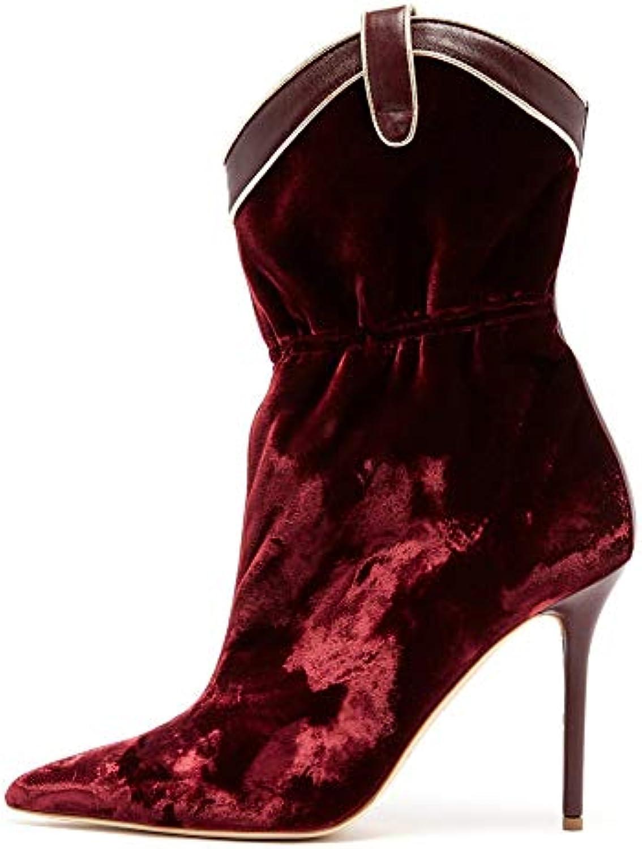 CYMIU Chaussures pour Femmes Velours Velours Femmes Pointu Stiletto Talon Haut Bottines Courtes Grande Taille Vin Rouge Chaussettes... 98b0ce