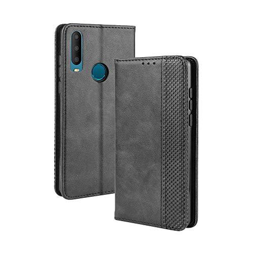 LAGUI Kompatible für Alcatel 3X 2019 Hülle, Leder Flip Case Schutzhülle für Handy mit Kartenfach Stand und Magnet Funktion als Brieftasche, schwarz