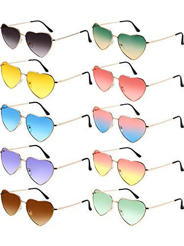 Chinco 10 Stück Herzförmige Sonnenbrille Dünne Metall Rahmen Schöne Herz Stil (Gold Rahmen)