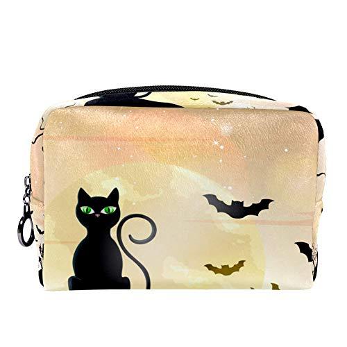he mit Halloween-Motiv Katzen und Fledermäuse für Frauen, Hautpflege, Kosmetik, praktische Tasche mit Reißverschluss ()