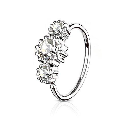 eeddoo Nasen-Piercing Ring Kristall biegbar Silber Edelstahl Kristallklar
