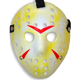 HomeTools.eu® - Halloween Maske | Kostüm Horror Hockey Myers Gesichts-Maske | Fasching, Karneval, Grusel-Kostüm Hockey-Maske Fratze | gelb